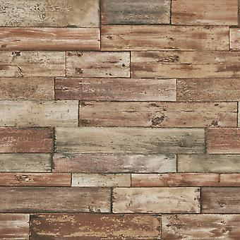 Weathered Wood Effect Wallpaper Faux Wooden Panels Planks Realistic Erismann