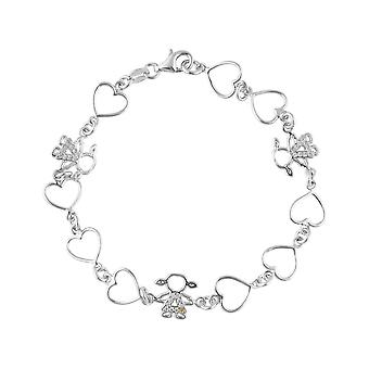 Sterling Silver 925 Hearts Girls Charms Premium Cubic Zirconia Stones Bracelet for Kids Girls Fine  Jewellery