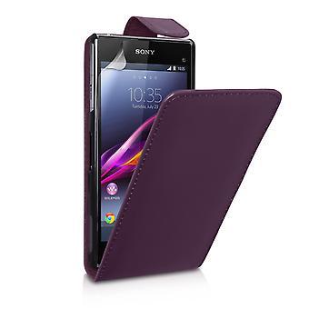 Sony Xperia Z1 Компактный кожаный эффект флип Чехол - фиолетовый