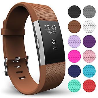 Yousave Fitbit carga 2 correa simple (grande) - marrón