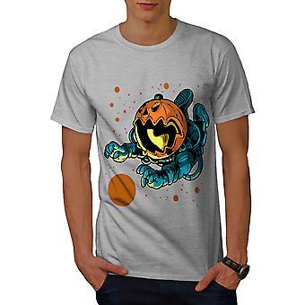Pumpkin Astronaut Men GreyT-shirt | Wellcoda