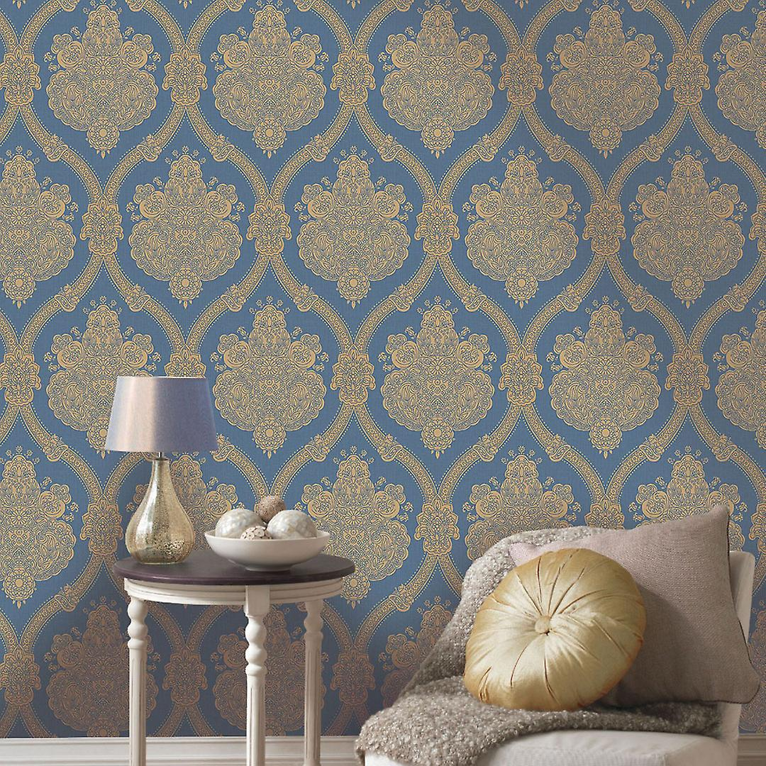 Damask Wallpaper Textured Luxury Traditional Moselle Blue Beige Holden Decor