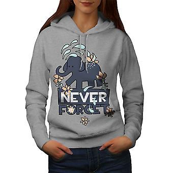 Never Forget Cute Animal Women GreyHoodie | Wellcoda