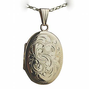 9ct золота 27x20mm овальный стороны выгравированы Чудесный медальон медаль на Белчер цепи 16 дюймов подходит только для детей