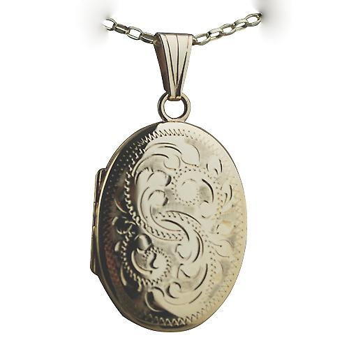 9ct Gold 27x20mm oval hand engraved Miraculous Medal Locket on a belcher Chain 16 inches Only Suitable for Children
