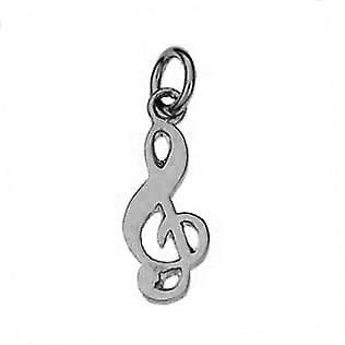 Silver 18x8mm G Clef Pendant or cham