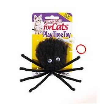 Classic Black Furry Spider Cat Toy