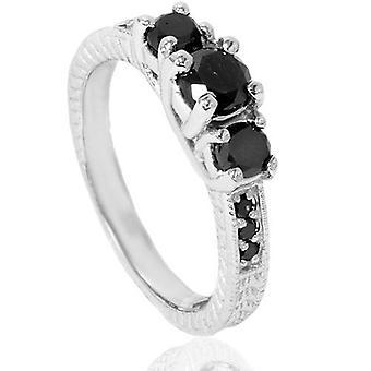 1 3 / 4ct svart diamant Vintage förlovningsring 14K vitguld