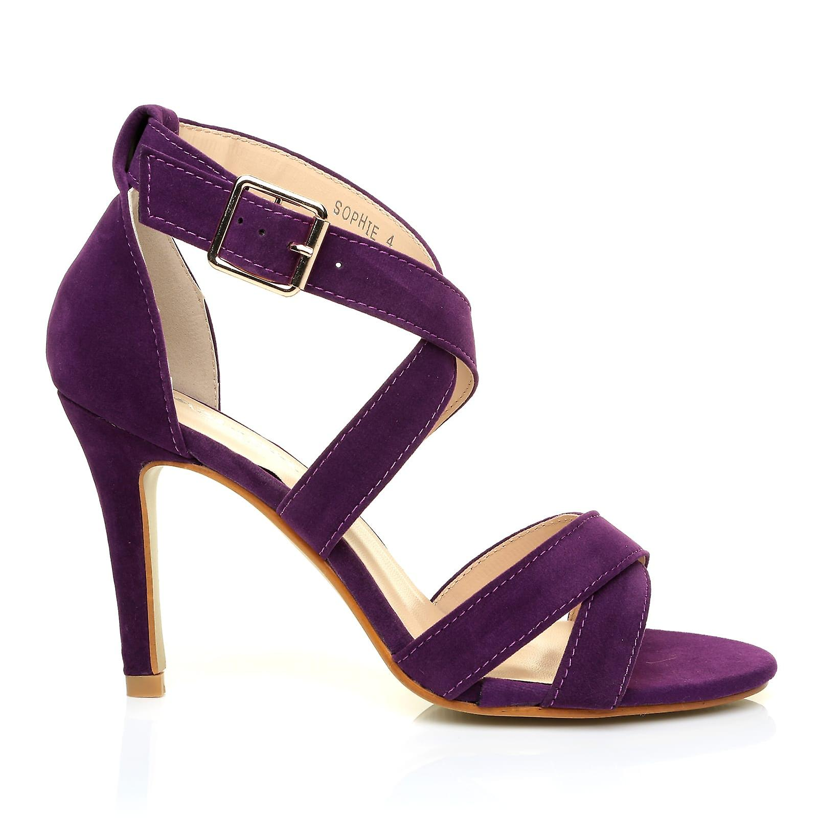 SOPHIE Suede Strappy Sandals Faux Heel Purple High q4aHF
