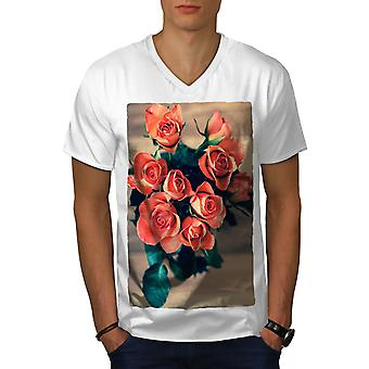 Roses Beautiful Nature Men WhiteV-Neck T-shirt | Wellcoda