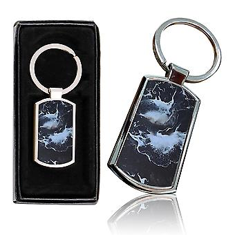 i-Tronixs - Premium Marble Design Chrome Metal Keyring with Free Gift Box (1-Pack) - 0056