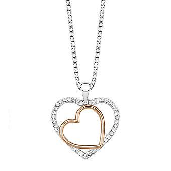 s.Oliver juvel damer kjede-silver Rosé bicolor kubikk zirconia hjertet 9236619