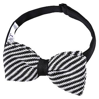 Black and White Diagonal Stripe Knitted Pre-Tied Bow Tie