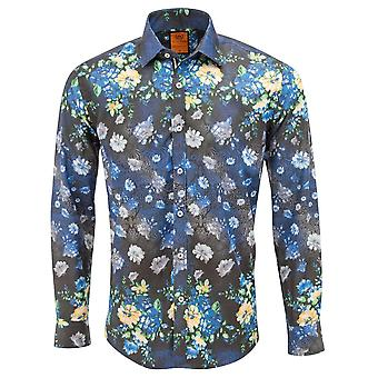 Oscar Banks Navy Floral Placement Print Mens Shirt