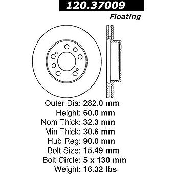 Centric Parts 120.37009 Premium Brake Rotor with E-Coating