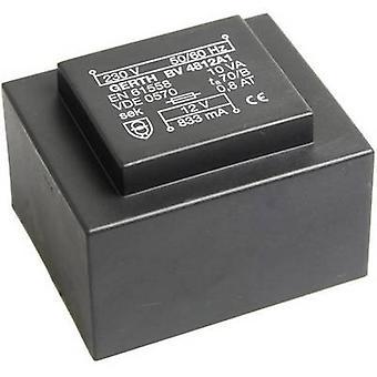 PCB de montaje transformador 1 x 230 V 1 x 12 V AC 10 VA 833 mA
