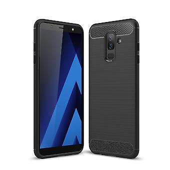 Samsung Galaxy A6 mais 2018 capa silicone preto carbono olha caso capa TPU móvel de para-choques 211772