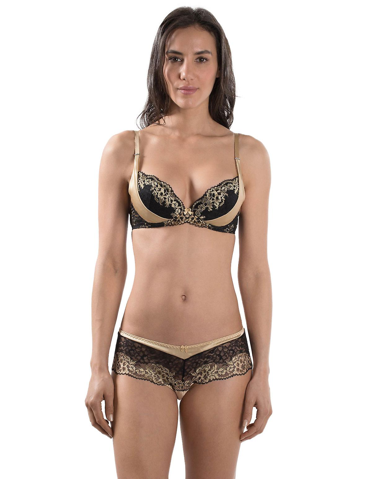 Aubade MD18 Women's Femme Glamour Black and Gold Lace Underwired Plunge Bra