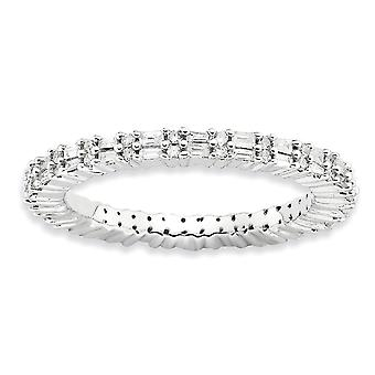 2.25mm Sterling Silver Prong set Rhodium-plated Stackable Expressions Polished Diamond Ring - Ring Size: 5 to 10