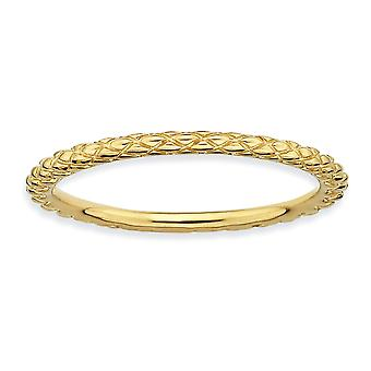 Sterling Silver Polished Patterned Criss Cross Stackable Expressions Gold-Flashed Criss-Cross Ring - Ring Size: 5 to 10