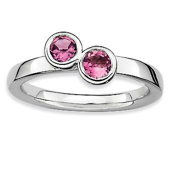 Sterling sølv Bezel poleret Rhodium-belagt stabelbare udtryk Db runde Pink Tourm. Ring - ringstørrelse: 5-10
