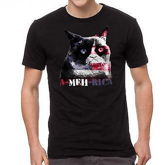 Grumpy Cat A Meh Rica Men's Black Funny T-shirt