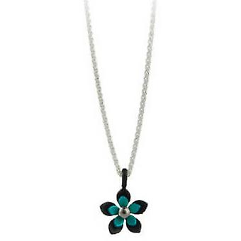 Ti2 Titanium Black Back Five Petal Flower Pendant - Kingfisher Blue