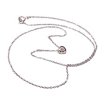 14 k White Gold Heart Necklace