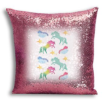i-Tronixs - Unicorn Printed Design Rose Gold Sequin Cushion / Pillow Cover for Home Decor - 7