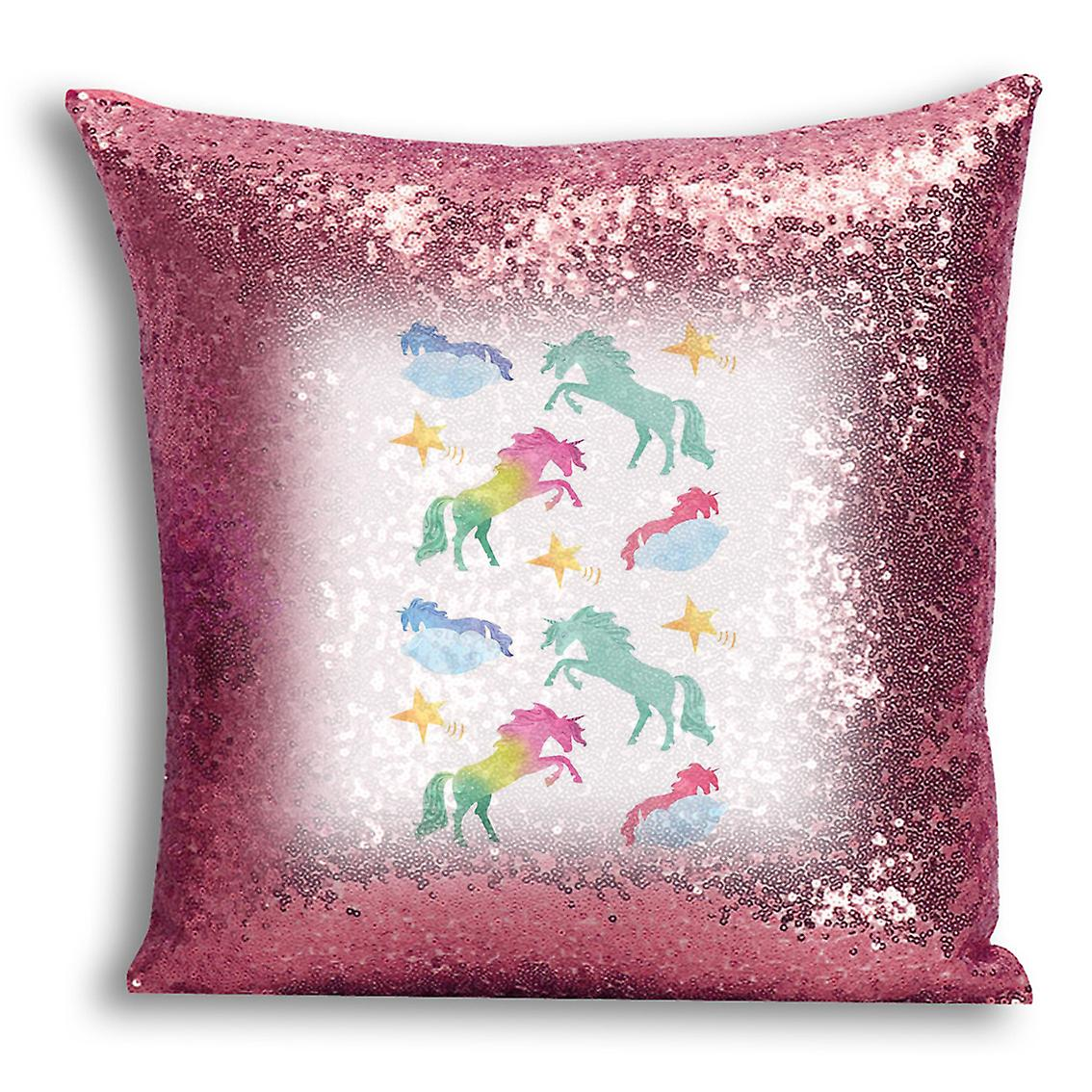 For Printed Design Decor Rose Gold tronixsUnicorn Home Sequin With 7 CushionPillow I Cover Inserted 08PnwOk
