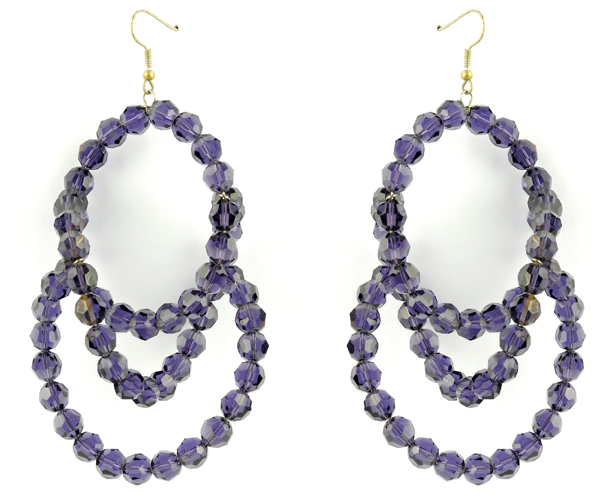 Waooh - Jewellery - WJ0760 - earrings with Swarovski Strass Violet Transparent - Frame Color Gold