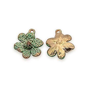 3 x Rose Gold/blass blauen Emaille & Legierung 14 x 16mm Blume Charm-Anhänger Y06130