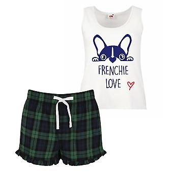Frenchie Love Pyjamas Ladies Tartan Frill Short Pyjama Set Red Blue or Green Blue