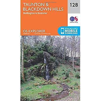 OS Explorer mappa (128) Taunton e Blackdown Hills