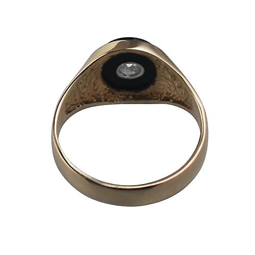 9ct Gold 13x11mm onyx & CZ oval gents signet Ring
