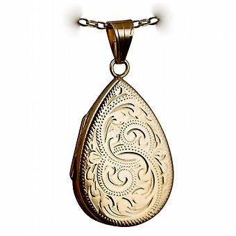 9ct Gold 28x19mm hand engraved flat teardrop Locket with a belcher Chain 16 inches Only Suitable for Children