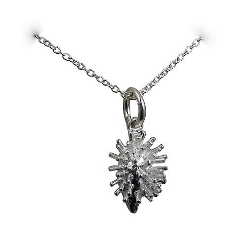Silver 15x10mm Hedgehog Pendant with a rolo Chain 16 inches Only Suitable for Children