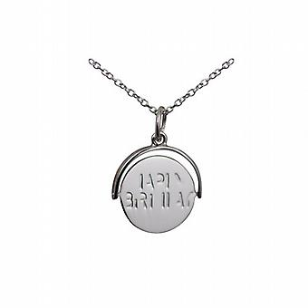 Silver 15x16mm round Happy Birthday spinning disc Pendant with a rolo Chain 24 inches