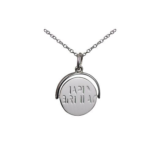 Silver 15x16mm round Happy Birthday spinning disc Pendant with a rolo chain