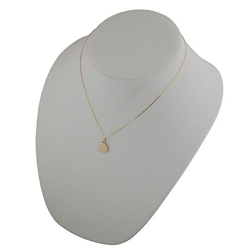 9ct Gold 13mm plain round Disc with a curb Chain 18 inches
