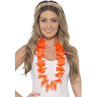 Damen Mädchen Orange Hawaiian Lei Fancy Dress Zubehör