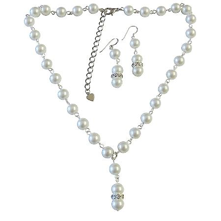 White Pearl Necklace Set Exclusively Affordable Wedding Jewelry Bridemaids Drop Down Necklace Gorgeous Pearl Set