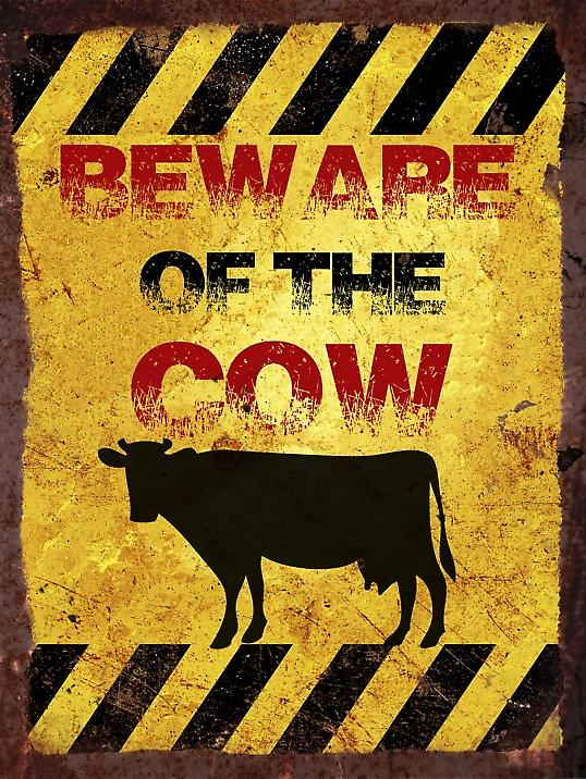 Vintage Metal Wall Sign - Beware of the cow