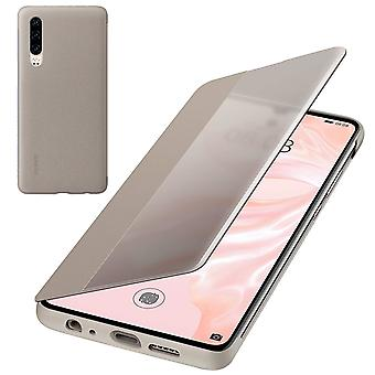 Genuine Huawei P30 Smart View Flip Cover Wallet with Sleep Wake Feature - Khaki