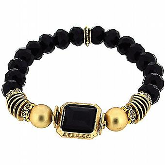Park Lane Goldtone & Black Beads Elasticated Bracelet