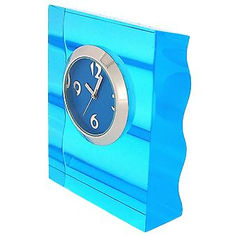 The Olivia Collection Desktop Analgoue Blue Dial Blue Acrylic Ripple Look Clock