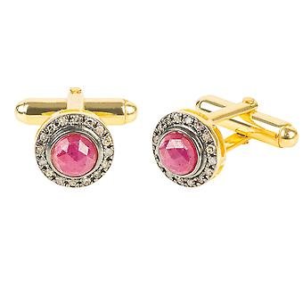 Gold Diamond Gemstone Cufflink Ruby Red Gift Silver 925 Mariage Homme Marié Boxed
