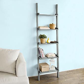 SoBuy Modern 5 Tiers Ladder Shelf Bookcase, Storage Display Shelving Wall Shelf, Grey,FRG17-HG