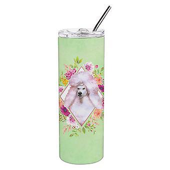 Standard bianco barboncino verde fiori doppio murato in acciaio inox 20 oz Skinny T