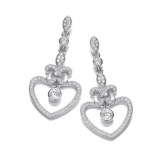 Cavendish French Silver and CZ Fleur de Lis Heart Earrings